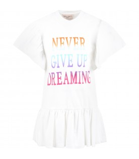 White dress for girl with writing