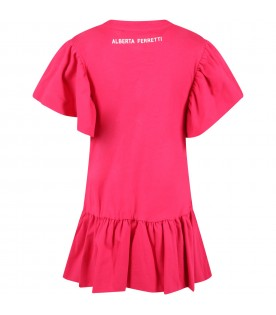 Fuchsia dress for girl with writing