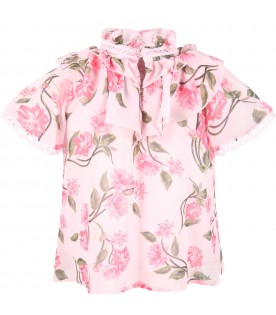 Pink blouse for girl with flowers