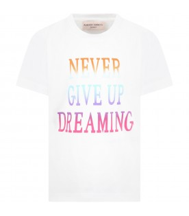White t-shirt for girl with multicolor writing
