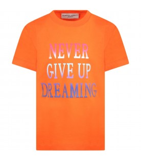 Orange t-shirt for girl with multicolor writing