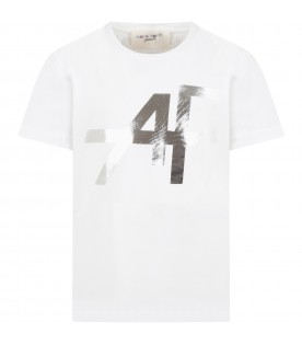 White t-shirt for girl with silver logo