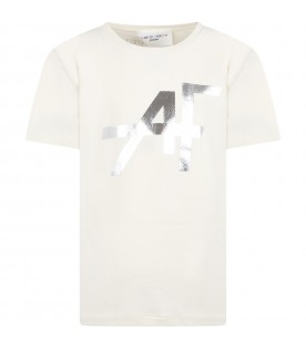 Ivory t-shirt for girl with silver logo