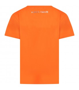 Orange t-shirt for girl with silver logo