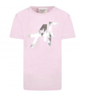 Lilac t-shirt for girl with silver logo