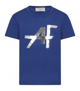 Blue t-shirt for girl with silver logo