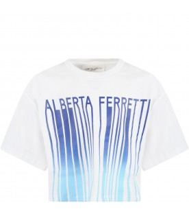White t-shirt for girl with blue logo