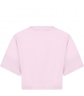 Lilac t-shirt for girl with white logo