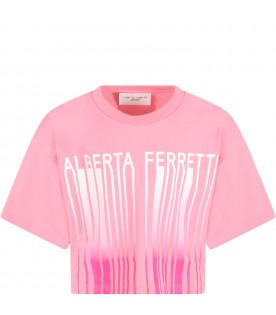 Pink t-shirt for girl with white logo