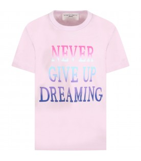 Lilac t-shirt for girl with multicolor writing