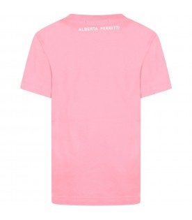 Pink t-shirt for girl with multicolor writing