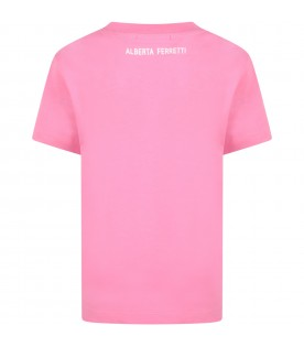 Fuchsia t-shirt for girl with multicolor writing