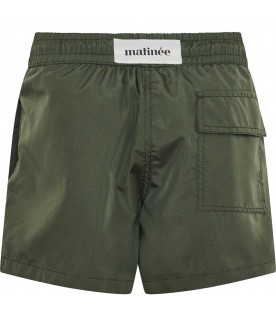 Green swimsuit for boy with logo