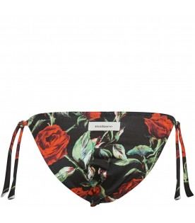 Black swimsuit for girl with roses