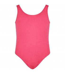 Fuchsia swimsuit for girl with logo