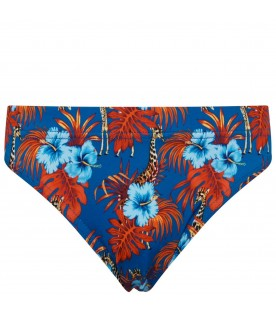 Blue swimsuit for boy with logo