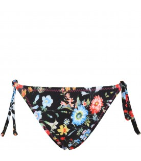 Black swimbrief for girl with flowers