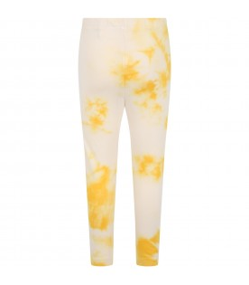 Yellow leggings for kids with logo