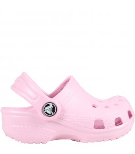 Pink sabot for baby girl with logo