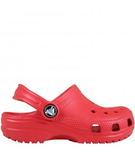 Red sabot for kids with logo