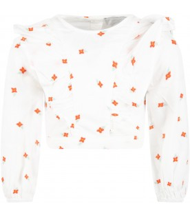 White blouse for girl with flowers