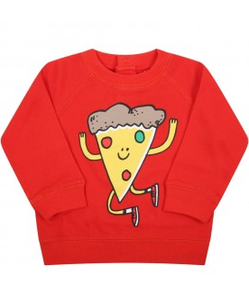 Red sweatshirt for baby kids with pizza