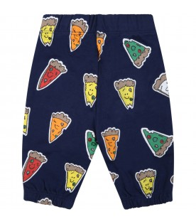Blue sweatpants for baby kids with pizzas