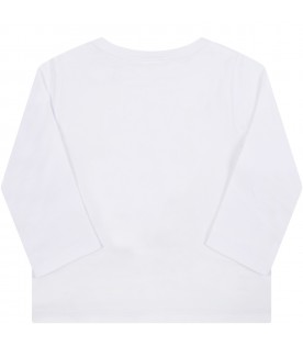 White t-shirt for baby kids with pizza