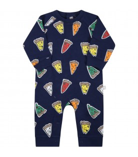 Blue babygrow for baby kids with pizzas