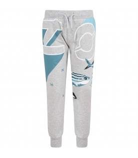 Grey sweatpant for boy with fishes