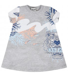 Grey dress for baby girl with corals