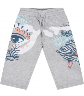 Grey sweatpant for baby girl with corals