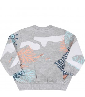 Grey sweatshirt for baby girl with corals