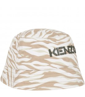 White sun hat for kids with logo