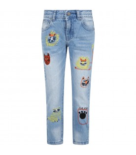 Light blue jeans for boy with animals