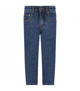"""Blue """"Aiden""""  jeans for kids with logo"""