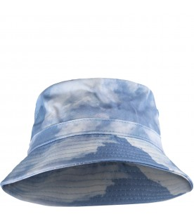 Light blue ''Siks'' bucket hat for kids with clouds