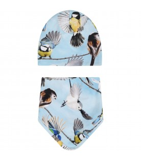 Light blue ''Ned'' set for baby boy with birds