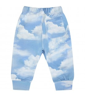 Light blue ''Simmie'' sweatpant for baby kids with clouds