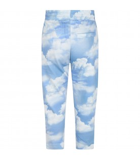 Light blue ''Aurora'' sweatpant for kids with clouds