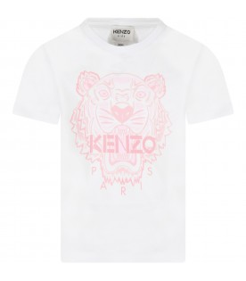 White t-shirt for girl with iconic tiger