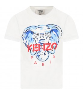 White t-shirt for boy with iconic elephant