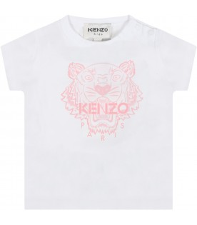 White t-shirt for baby girl with iconic tiger