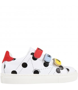 White sneakers for kids with polka-dots
