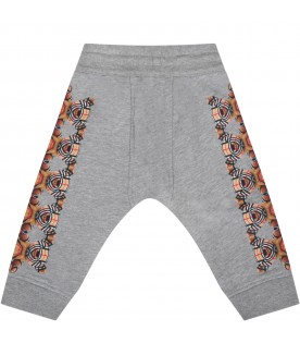 Grey sweatpant for baby kids with bears