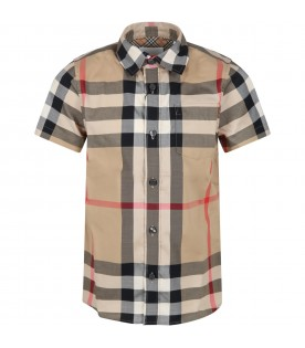 Beige shirt for boy with vintage checks