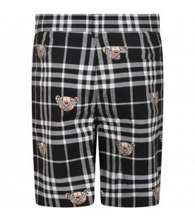 Black short for boy with bears