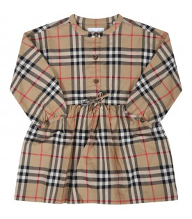 Beige dress for baby girl with vintage checks
