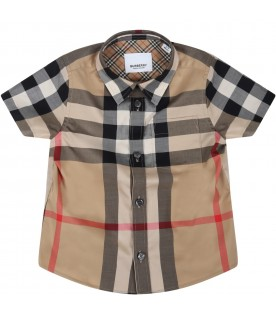 Beige shirt for baby boy with vintage checks