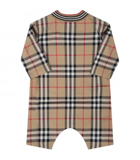 Beige babygrow for baby kids with vintage checks